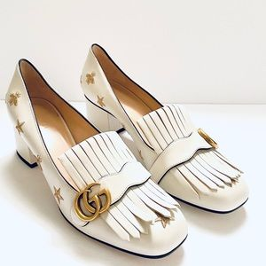 NWT: GUCCI   Off-Beige Marmont GG Pumps
